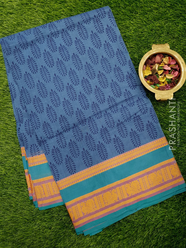 Chettinad cotton saree blue with hand block prints without blouse