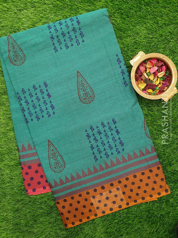 Chettinad cotton saree blue and mustard with hand block prints without blouse