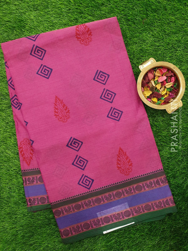 Chettinad cotton saree onion pink with hand block prints without blouse