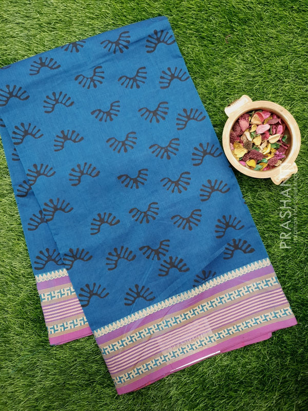 Chettinad cotton saree peacock blue and purple with hand block prints without blouse