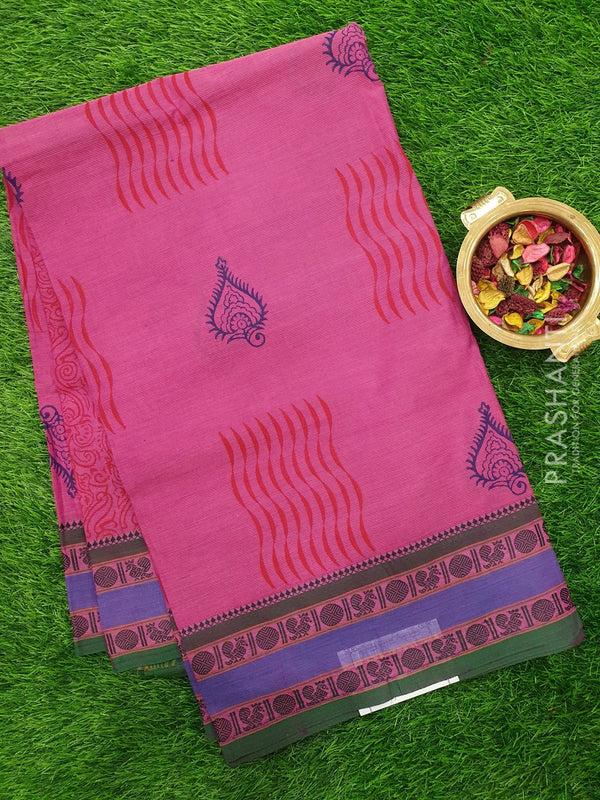 Chettinad cotton saree onion pink and green with hand block prints without blouse