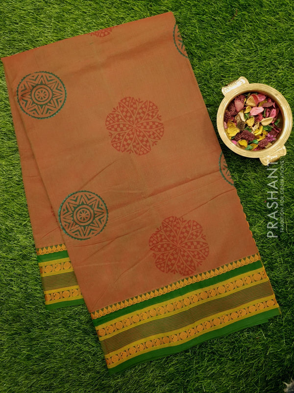 Chettinad cotton saree maanthulir green with hand block prints without blouse
