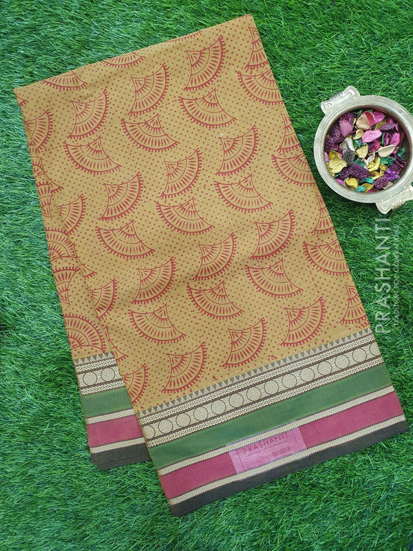 Chettinad cotton saree beige with hand block prints without blouse