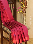 Dupion silk saree purple and blue with thread weaving and golden zari border