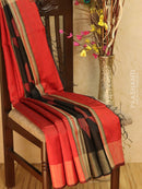 Dupion silk saree red and black with thread weaving and golden zari border
