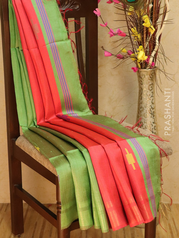 Dupion silk saree green and red with thread weaving and golden zari border