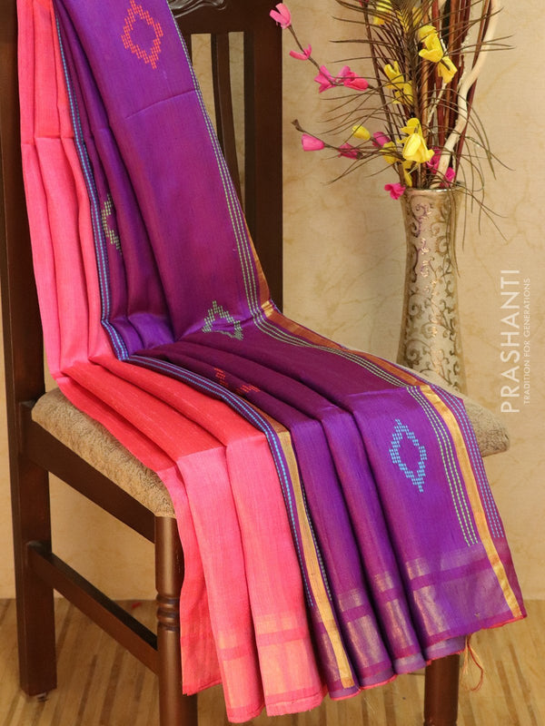 Dupion silk saree pink and violet with thread weaving and golden zari border