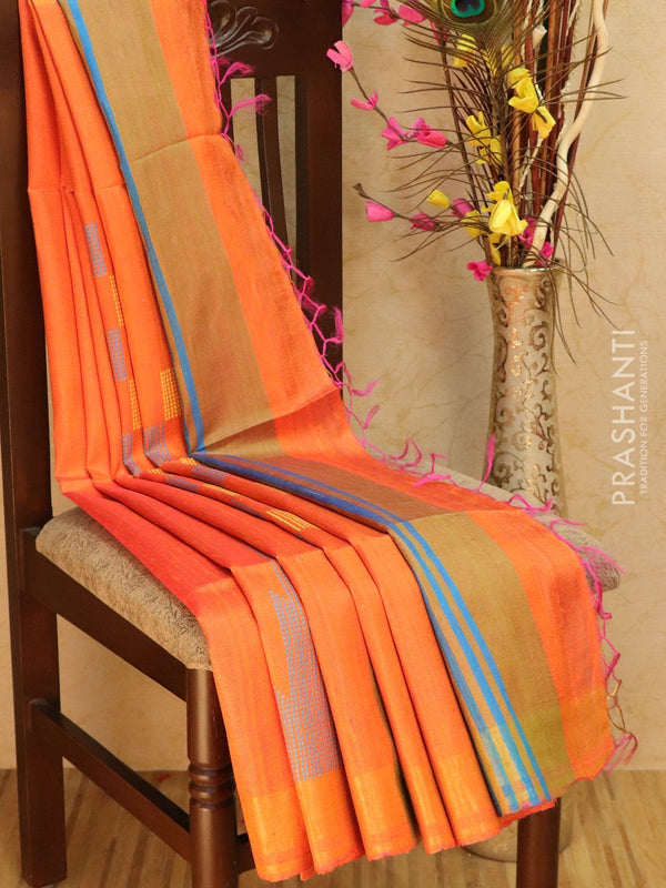 Dupion silk saree orange with thread weaving and golden zari border