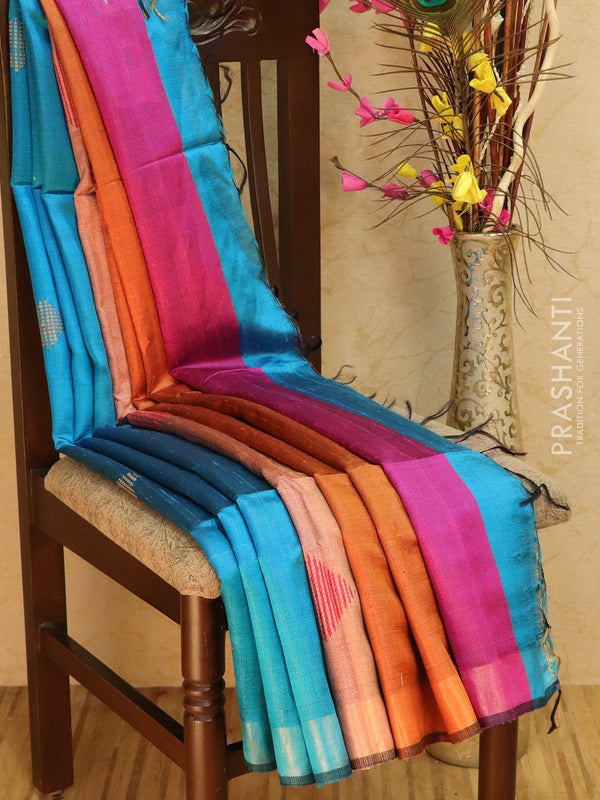 Dupion silk saree blue and purple with thread weaving and golden zari border
