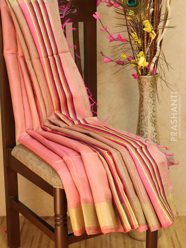 Dupion silk saree peachish pink with thread weaving and golden zari border