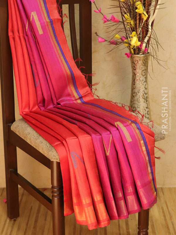 Dupion silk saree red and pink with thread weaving and golden zari border