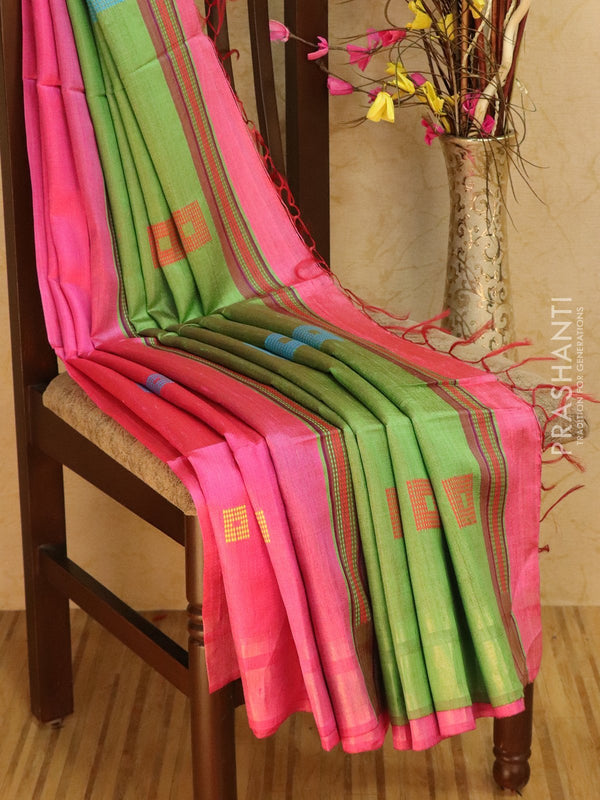 Dupion silk saree pink and green with thread weaving and golden zari border