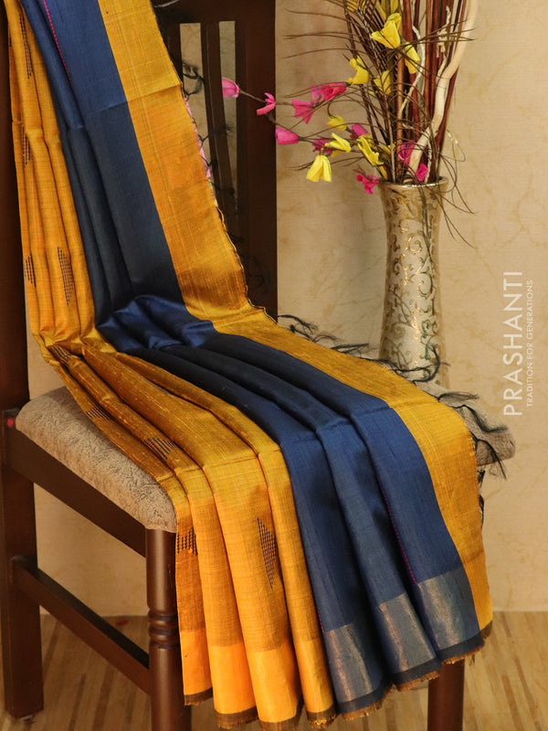Dupion silk saree mustard and blue with thread weaving and golden zari border