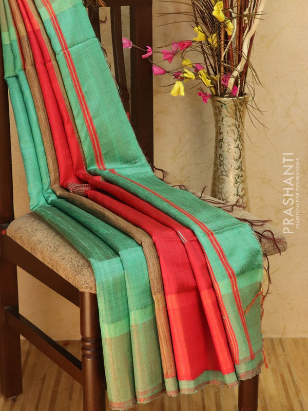 Dupion silk saree teal green and red with thread weaving and golden zari border