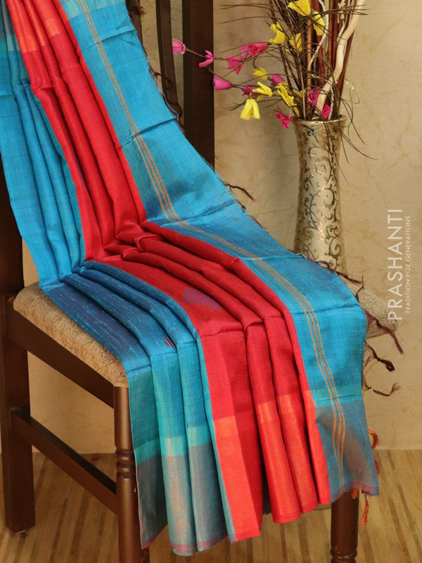 Dupion silk saree cs blue and red with thread weaving and golden zari border
