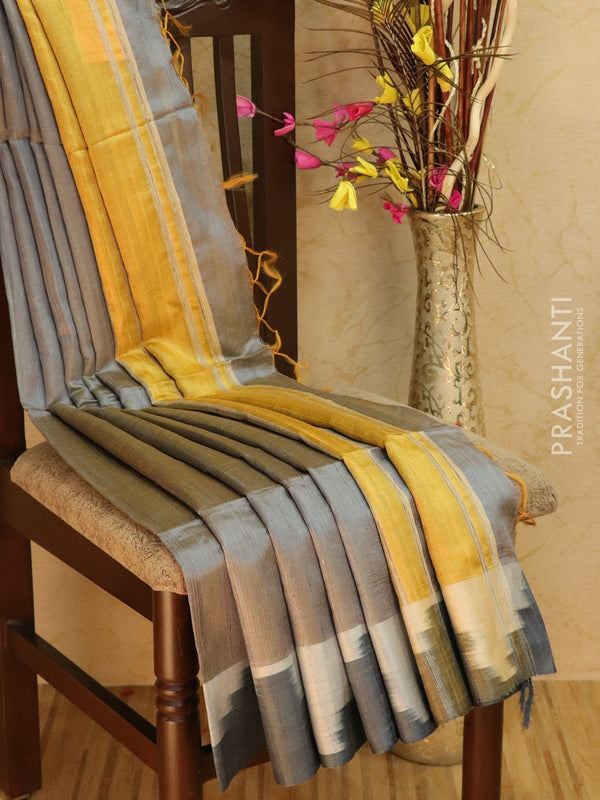Dupion silk saree grey and yellow with thread weaving and golden zari border