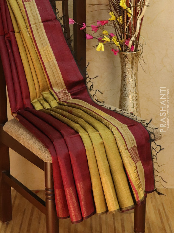 Dupion silk saree maroon and dark beige with thread weaving and golden zari border