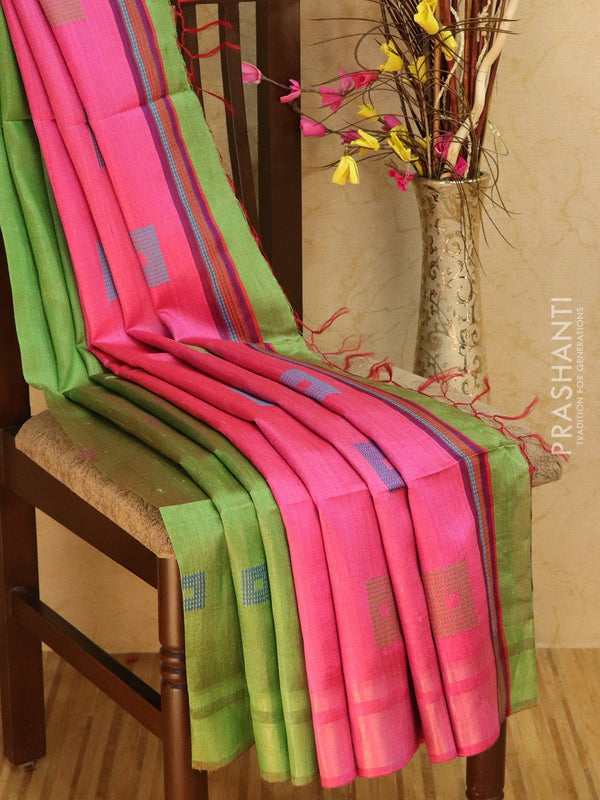 Dupion silk saree green and pink with thread weaving and golden zari border