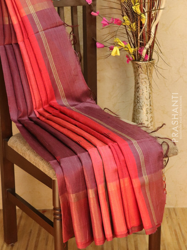 Dupion silk saree mulberry purple and red with thread weaving and golden zari border