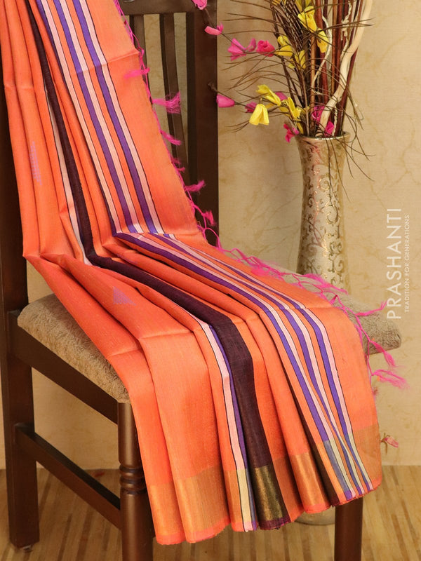 Dupion silk saree orange and grape wine with thread weaving and golden zari border
