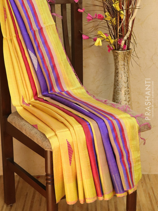 Dupion silk saree yellow and redish pink with thread weaving and golden zari border