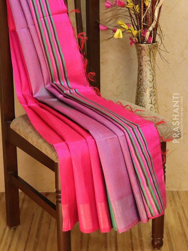 Dupion silk saree dark pink and teal with thread weaving and golden zari border