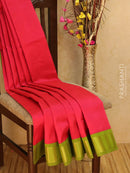 Silk cotton saree pink and green with zari woven korvai border