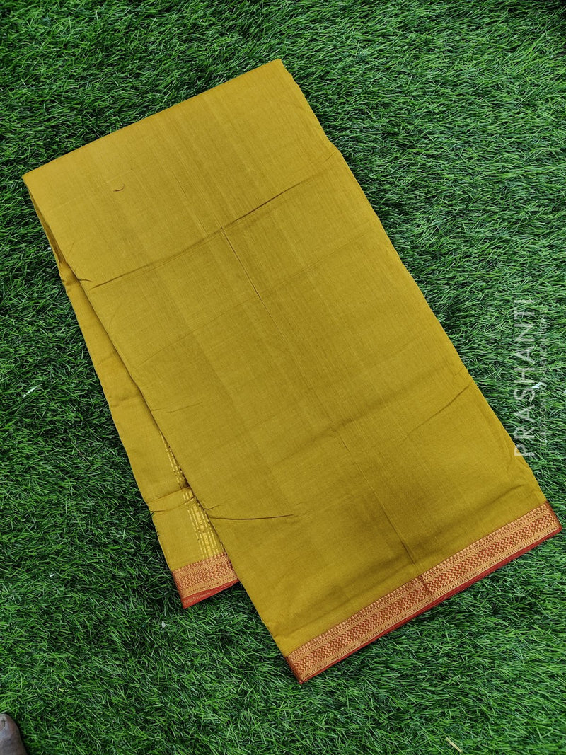 Mangalagiri cotton saree mustard yellow and red with golden zari border