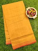 Mangalagiri cotton saree light brown and red with golden zari border