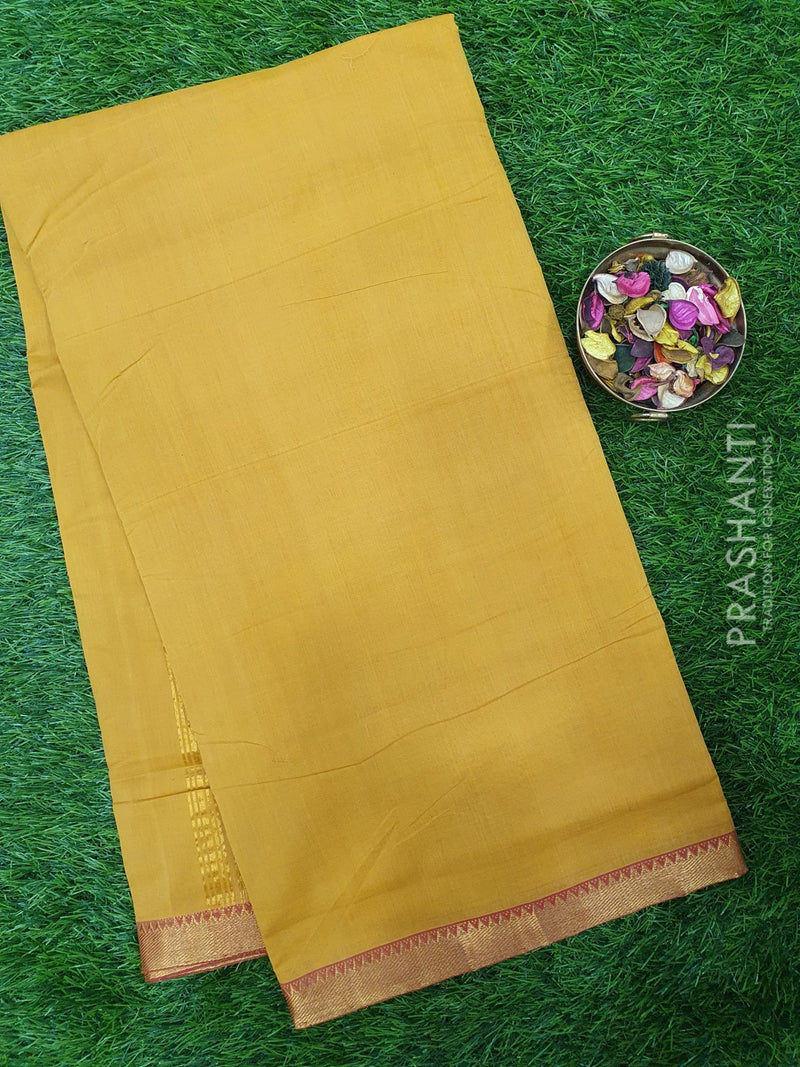 Mangalagiri cotton saree mustard with golden zari border