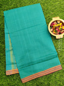 Mangalagiri cotton saree blue with golden zari border
