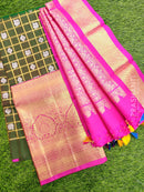 Pure Silk Half Saree green and pink with checked zari pattern and kanchi border