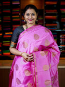 Semi Raw Silk Saree pink with antique zari buttas and temple zari border