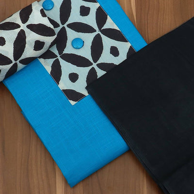 Dress Material - Sky blue and black with cotton top and Dupatta
