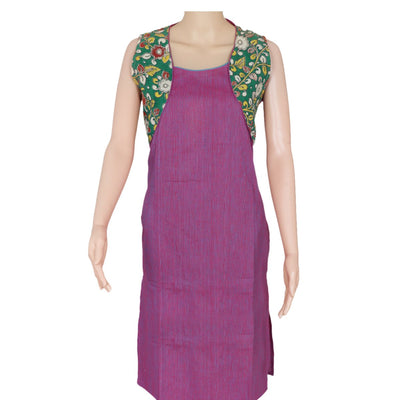 Kalamkari kurta Purple and green with floral design