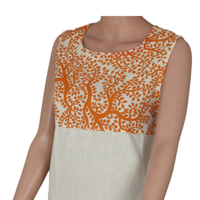Cotton Kurta Orange and Beige with leaf design