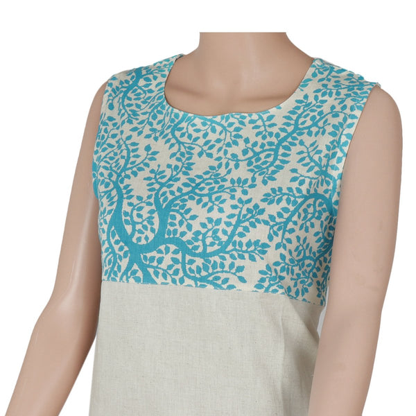 Cotton Kurta Blue and Beige with leaf design