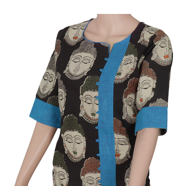 Kalamkari kurta black and Blue with buddha design