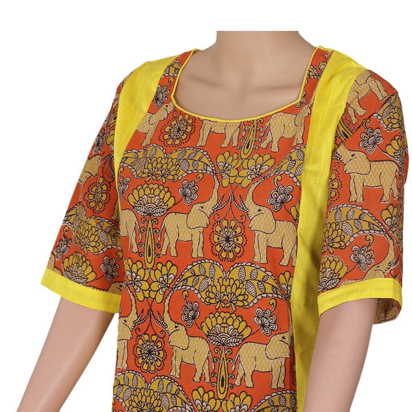 Kalamkari Raw Silk Kurta Yellow and Orange elephant design