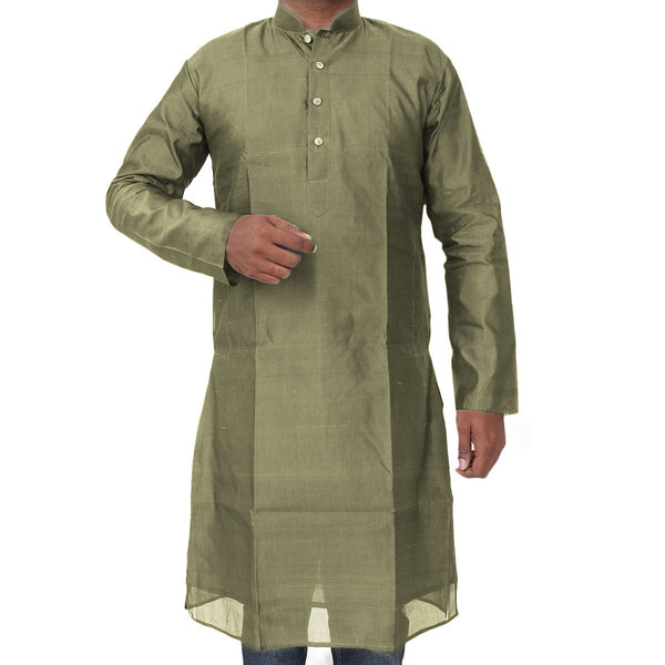 Mens Long Silk Cotton Kurta olive green