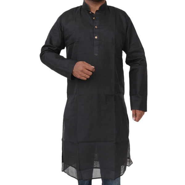 Mens Long Silk Cotton Kurta Black
