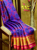 Rajkot Pattola silk saree royal blue and magenta pink with golden zari border