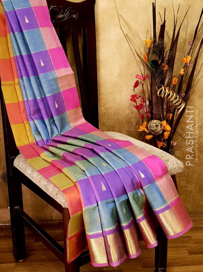 Silk Cotton Saree green purple and pink paalum pazhamum zari checks with rich zari border