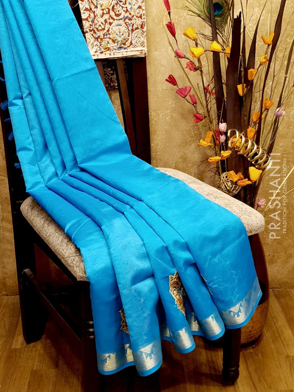 Silk Cotton Saree cs blue with Kalamkari applique work and zari border