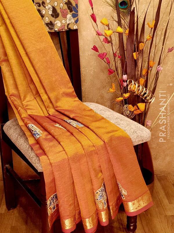 Silk Cotton Saree golden yellow with Kalamkari applique work and zari border