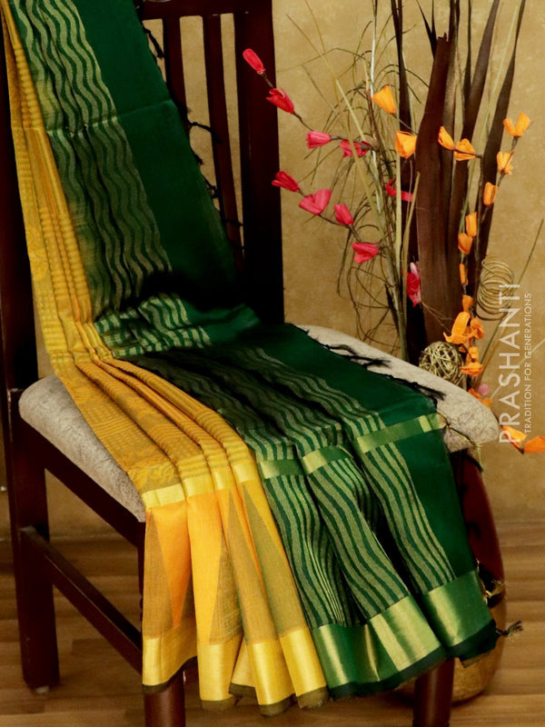 Light Weight Silk Cotton Saree mango yellow and bottle green with all over thread weaves and rich pallu