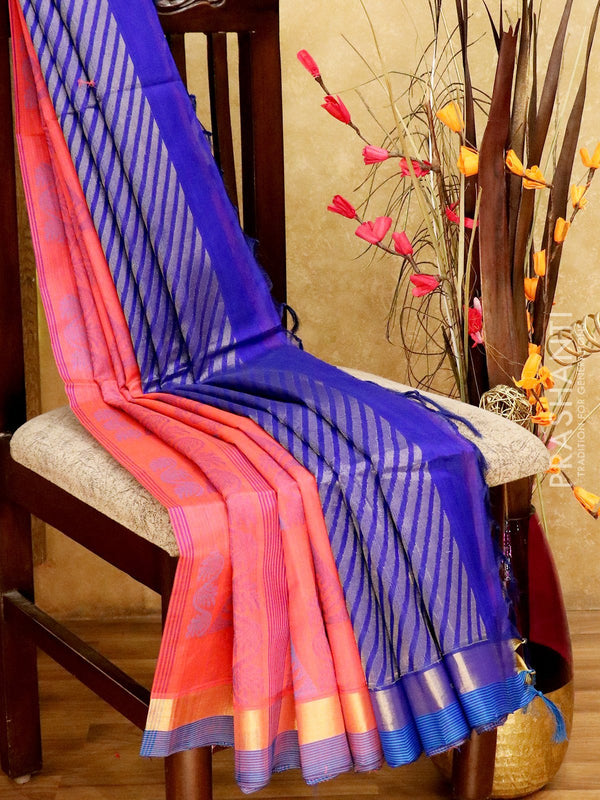 Light Weight Silk Cotton Saree pink and blue with all over thread weaves and rich pallu