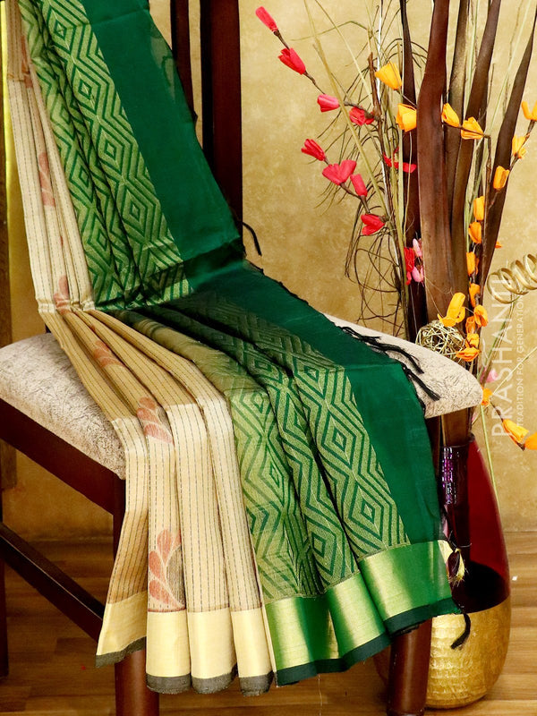 Light Weight Silk Cotton Saree beige and bottle green with all over thread weaves and rich pallu