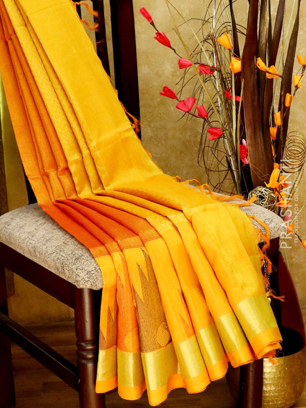Light Weight Silk Cotton Saree rust and mustard yellow with all over thread weaves and rich pallu