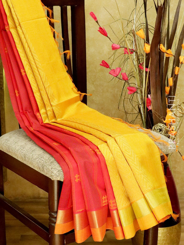 Light Weight Silk Cotton Saree red and mustard yellow with all over thread weaves and rich pallu